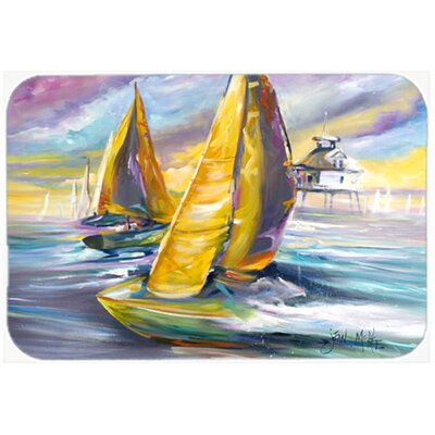 Sailboat with Middle Bay Lighthouse Kitchen/Bath Mat Size: 24 H x 36 W x 0.25 D