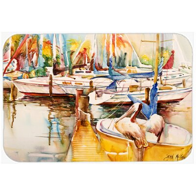 Sailboat with Pelican Golden Days Kitchen/Bath Mat Size: 24 H x 36 W x 0.25 D