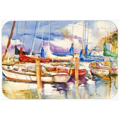 Run Away Sailboats Kitchen/Bath Mat Size: 20 H x 30 W x 0.25 D