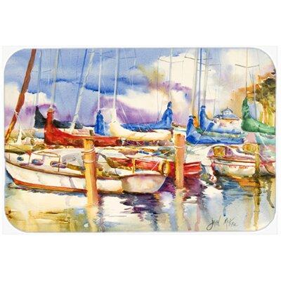 Run Away Sailboats Kitchen/Bath Mat Size: 24 H x 36 W x 0.25 D