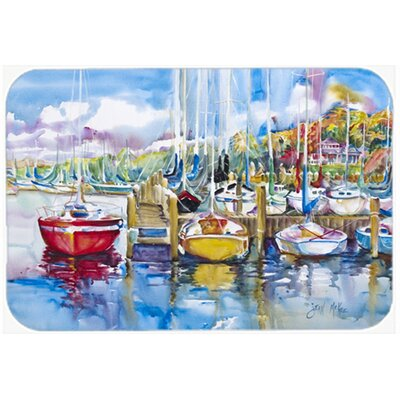 Paradise Yacht Club Sailboats Kitchen/Bath Mat Size: 20 H x 30 W x 0.25 D