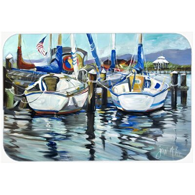 Tourquoise Bay Sailboat Kitchen/Bath Mat Size: 24 H x 36 W x 0.25 D