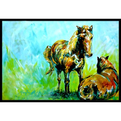 Horse Grazin Doormat Rug Size: Rectangle 16 x 2 3