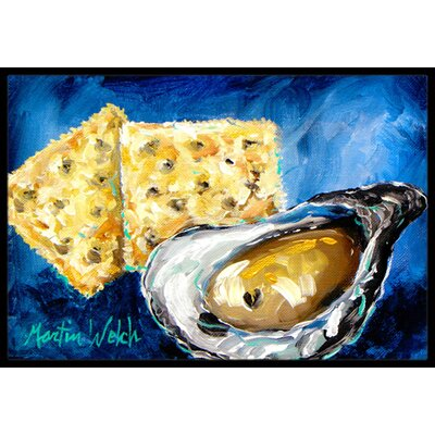 Oysters Two Crackers Doormat Rug Size: Rectangle 16 x 2 3