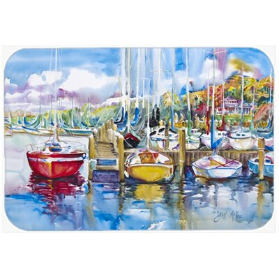 Paradise Yacht Club Sailboats Kitchen/Bath Mat Size: 24 H x 36 W x 0.25 D