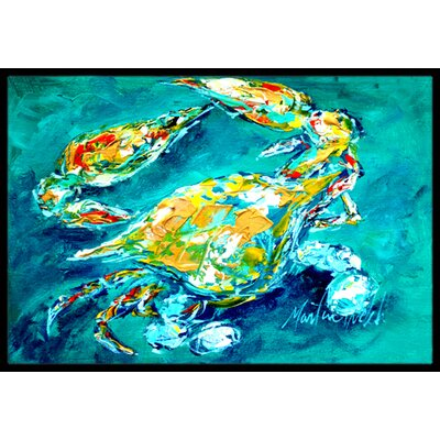 By Chance Crab in Aqua Doormat Mat Size: Rectangle 2 x 3