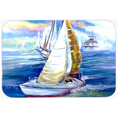 Rock My Boat Sailboats Kitchen/Bath Mat Size: 24