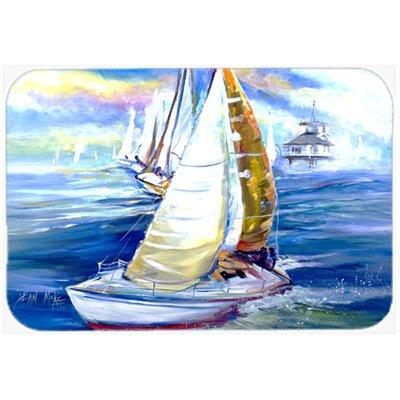 Rock My Boat Sailboats Kitchen/Bath Mat Size: 24 H x 36 W x 0.25 D