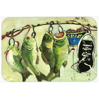 Recession Food Fish Caught with Spam Kitchen/Bath Mat Size: 24 H x 36 W x 0.25 D