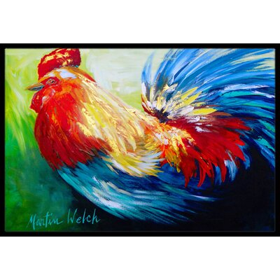 Jaiden Rooster Chief Big Feathers Bird Doormat Mat Size: Rectangle 2 x 3