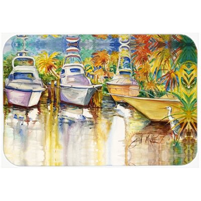 Heron and Deep Sea Fishg Boats Kitchen/Bath Mat Size: 20 H x 30 W x 0.25 D