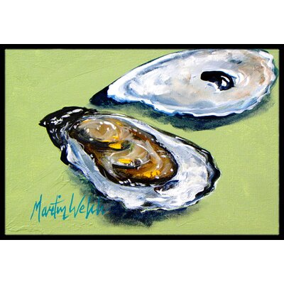 Oysters Two Shells Doormat Mat Size: Rectangle 2 x 3