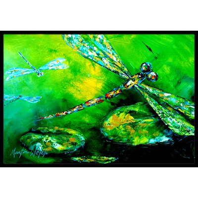 Dragonfly Summer Flies Doormat Rug Size: Rectangle 2 x 3