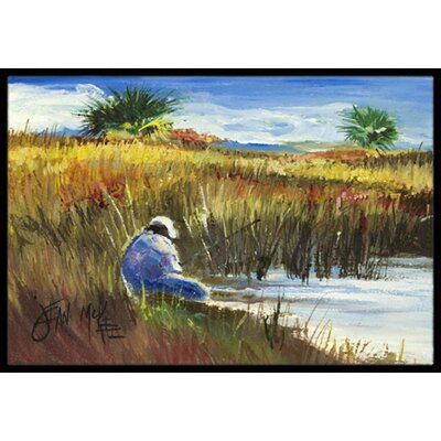 Fisherman on the Bank Doormat Mat Size: Rectangle 16 x 2 3