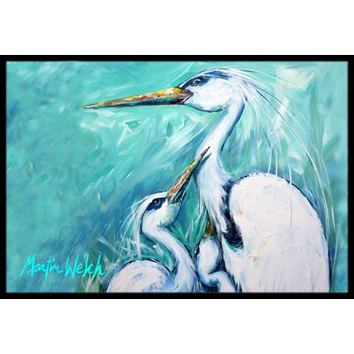 Mothers Love White Crane Doormat Rug Size: 2 x 3