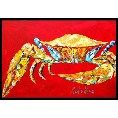 Crab on , Sr. Doormat Mat Size: Rectangle 2 x 3