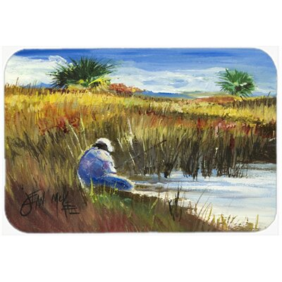 Fisherman on The Bank Kitchen/Bath Mat Size: 24 H x 36 W x 0.25 D
