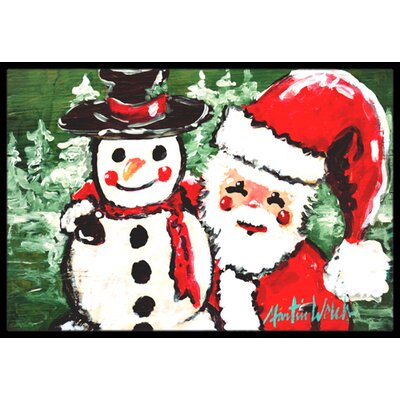 Friends Snowman and Santa Claus Doormat Rug Size: Rectangle 16 x 2 3
