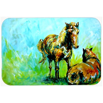 Horse Grazin Kitchen/Bath Mat Size: 24 H x 36 W x 0.25 D