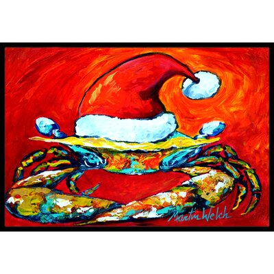 Crab in Hat Santa Claws Doormat Mat Size: Rectangle 2 x 3