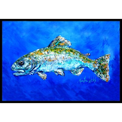 Fish Headed Downstream Doormat Mat Size: Rectangle 16 x 2 3
