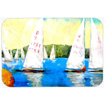 Sailboats Round The Mark Kitchen/Bath Mat Size: 24 H x 36 W x 0.25 D