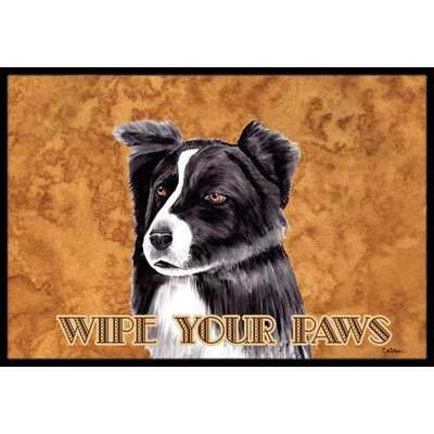 Border Collie Doormat Mat Size: Rectangle 16 x 2 3