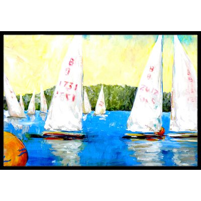 Sailboats Round the Mark Doormat Rug Size: 16 x 2 3