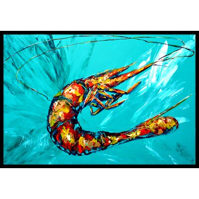 Shrimp Teal Shrimp Doormat Rug Size: 16 x 2 3