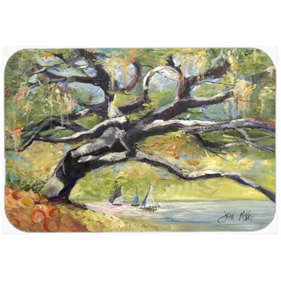 Oak Tree on The Bay with Sailboats Kitchen/Bath Mat Size: 20 H x 30 W x 0.25 D