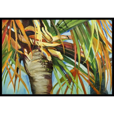 Orange Top Palm Tree Doormat Rug Size: 18 W x 27 L
