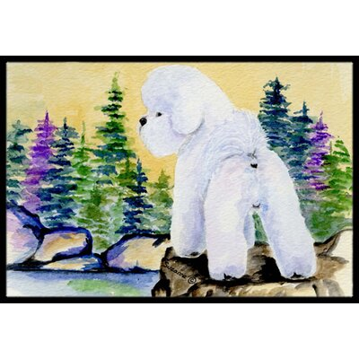 Standing Bichon Frise Dog Doormat Mat Size: Rectangle 16 x 2 3