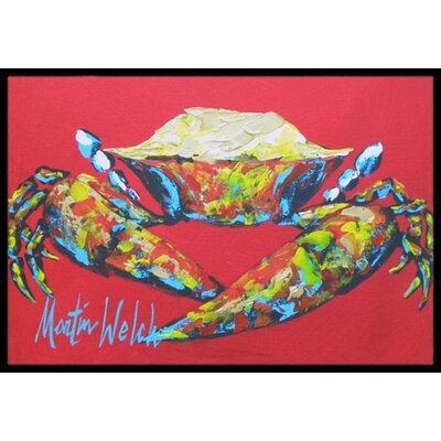 Crab Seafood One Doormat Mat Size: Rectangle 2 x 3