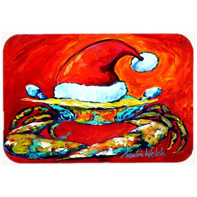 Crab In Santa Hat Santa Claws Kitchen/Bath Mat Size: 24 H x 36 W x 0.25 D