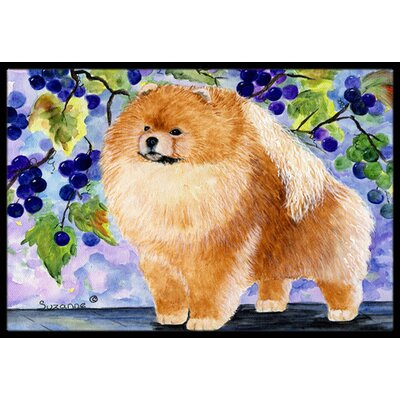 Pomeranian with Bunches Of Grapes Doormat Mat Size: Rectangle 2 x 3