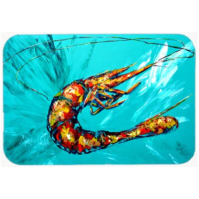 Shrimp Teal Shrimp Kitchen/Bath Mat Size: 24 H x 36 W x 0.25 D