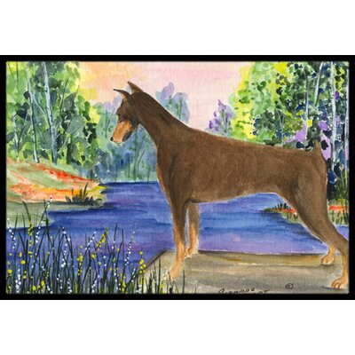 Doberman Doormat Mat Size: Rectangle 16 x 2 3