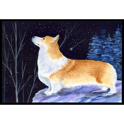 Starry Night Corgi Doormat Rug Size: 2 x 3