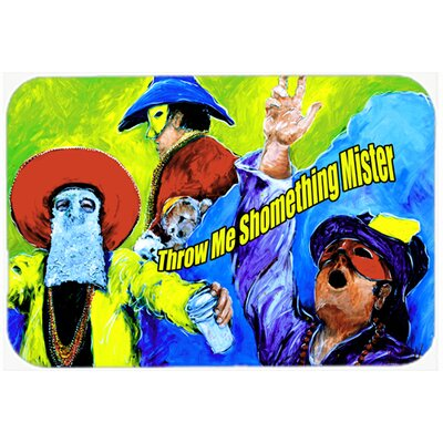 Mardi Gras Throw Me Something Mister Kitchen/Bath Mat Size: 24 H x 36 W x 0.25 D