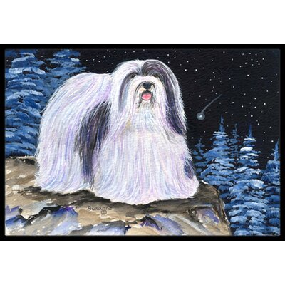 Starry Night Havanese Doormat Mat Size: Rectangle 16 x 2 3