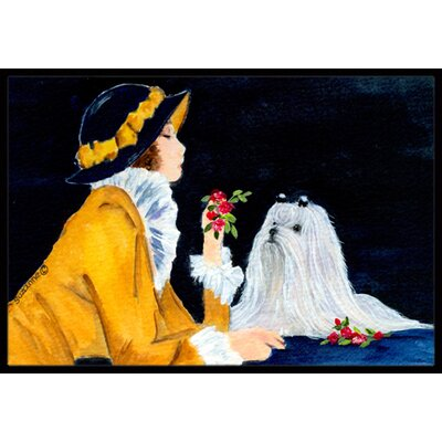Lady with Her Maltese Doormat Mat Size: Rectangle 2 x 3
