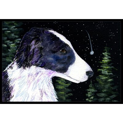 Starry Night Border Collie Doormat Mat Size: Rectangle 16 x 2 3