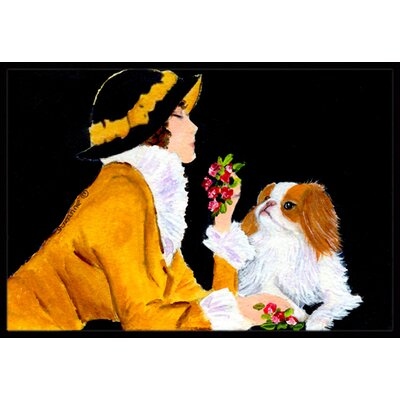 Lady with Her Japanese Chin Doormat Mat Size: Rectangle 2 x 3