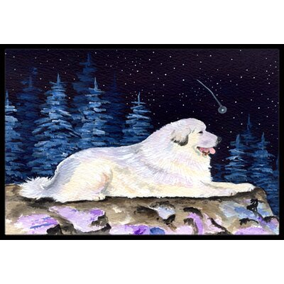 Starry Night Great Pyrenees Doormat Rug Size: Rectangle 16 x 2 3