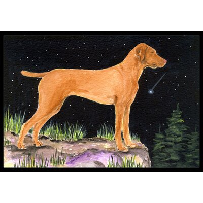Starry Night Vizsla Doormat Mat Size: Rectangle 2 x 3