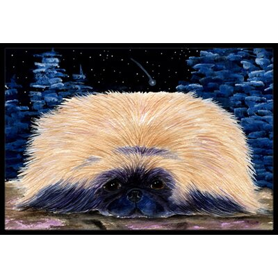 Starry Night Pekingese Doormat Rug Size: Rectangle 16 x 2 3