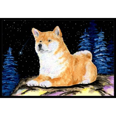 Starry Night Shiba Inu Doormat Mat Size: Rectangle 16 x 2 3
