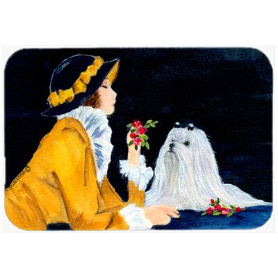 Lady with Her Maltese Kitchen/Bath Mat