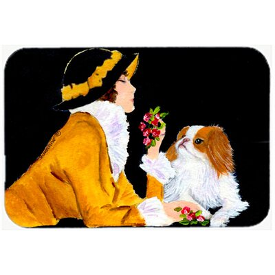Lady with Her Japanese Chin Kitchen/Bath Mat