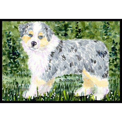Dog on Green Background Doormat Rug Size: Rectangle 2 x 3